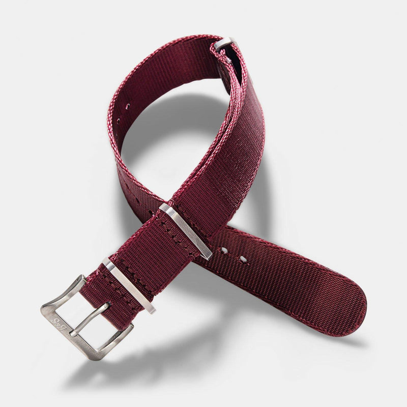 Deluxe Nylon Nato Watch Strap Burgundy Red