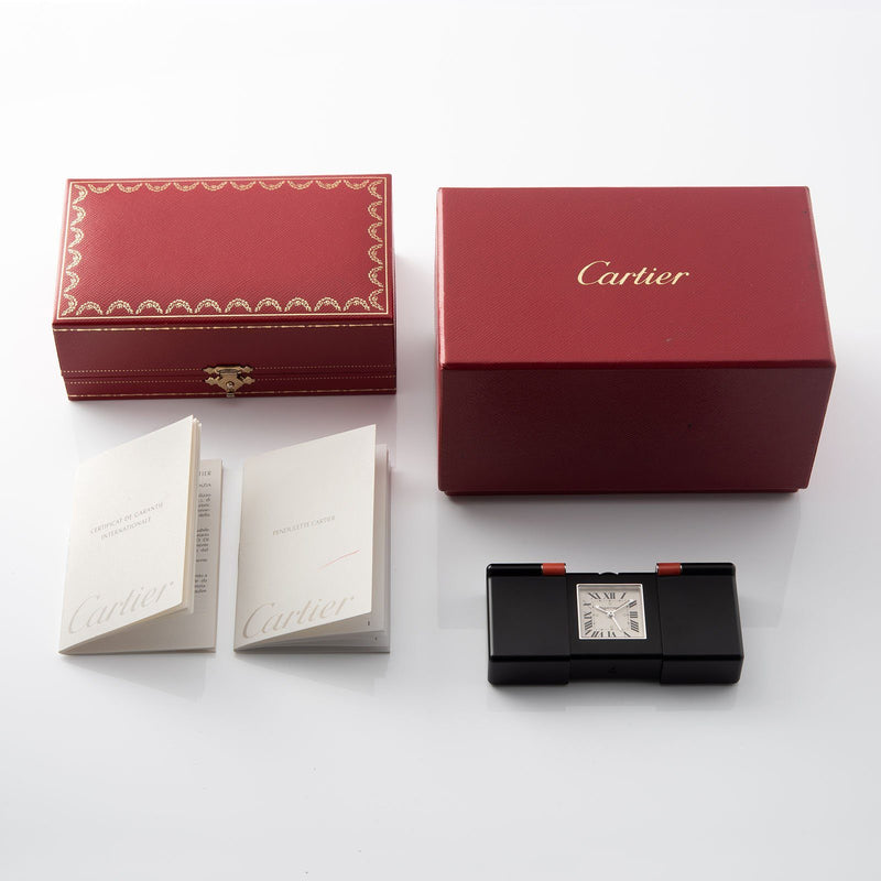 INCOMING Cartier Pendulette Travel Clock with Box and Papers