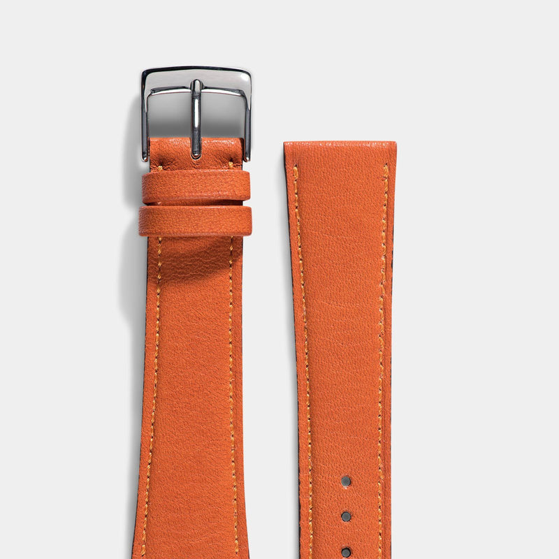 City Orange Leather Watch Strap