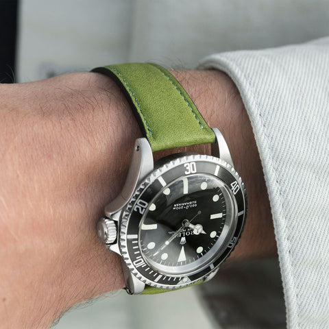 City Green Leather Watch Strap Rolex 5513 Submariner Black