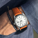 City Orange Leather Watch Strap Rolex Datejust White 1603