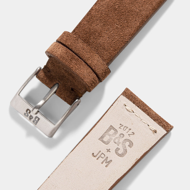 Cognac Brown Silky Suede Leather Watch Strap