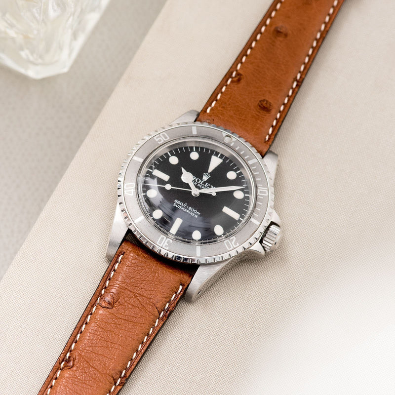 Cognac Brown Ostrich Leather Watch Strap