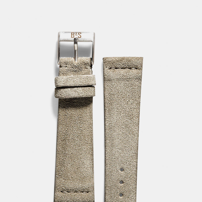 Concrete Grey Silky Suede Leather Watch Strap