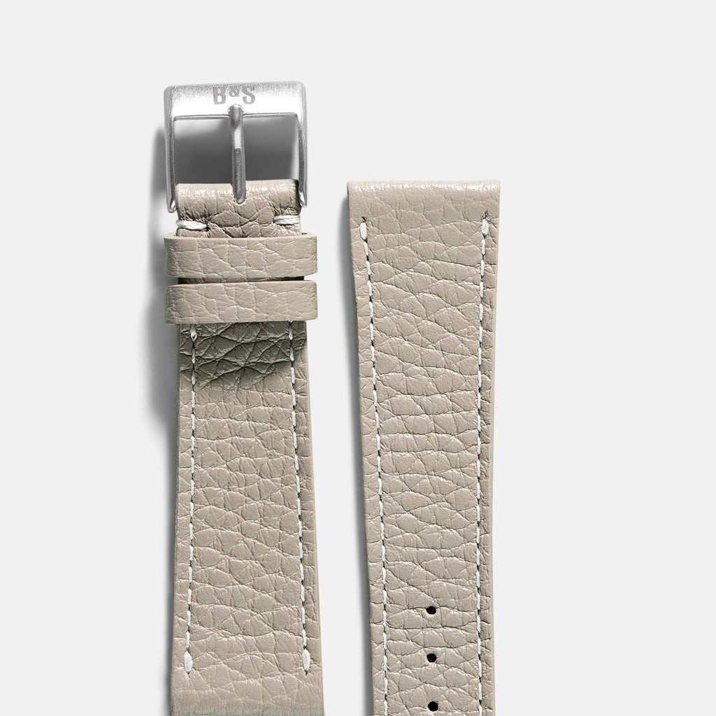 Cool Grey Leather Watch Strap