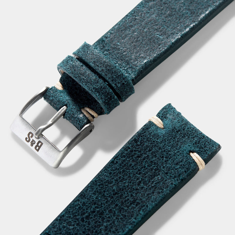 Crackle Copper Green Leather Watch Strap
