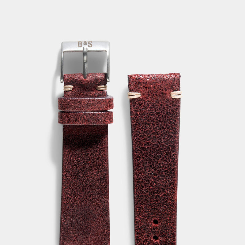Crackle Burgundy Red Leather Watch Strap