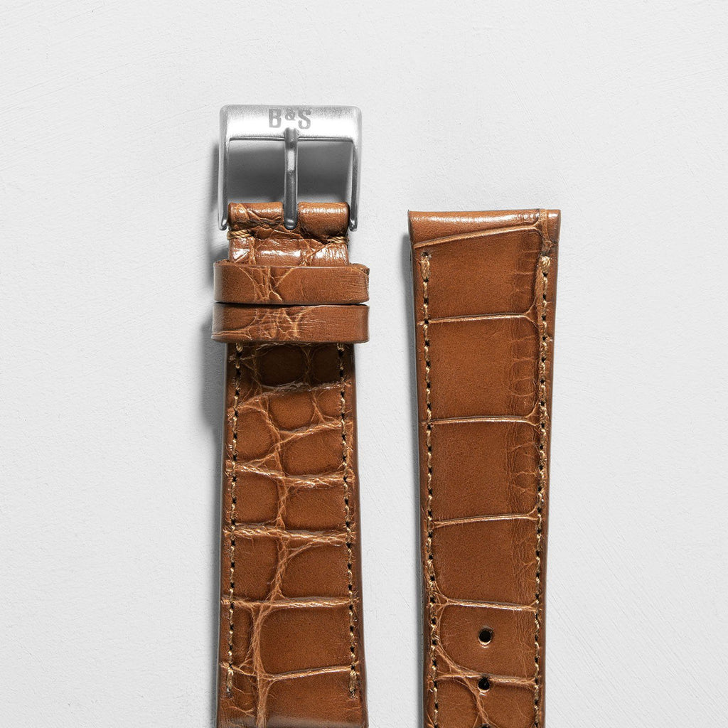 Croco Cognac Brown Leather Watch Strap