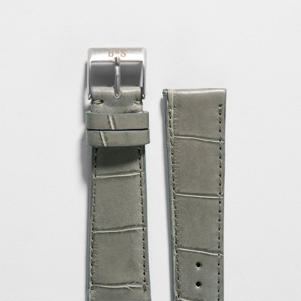 Croco Olive Grey Leather Watch Strap