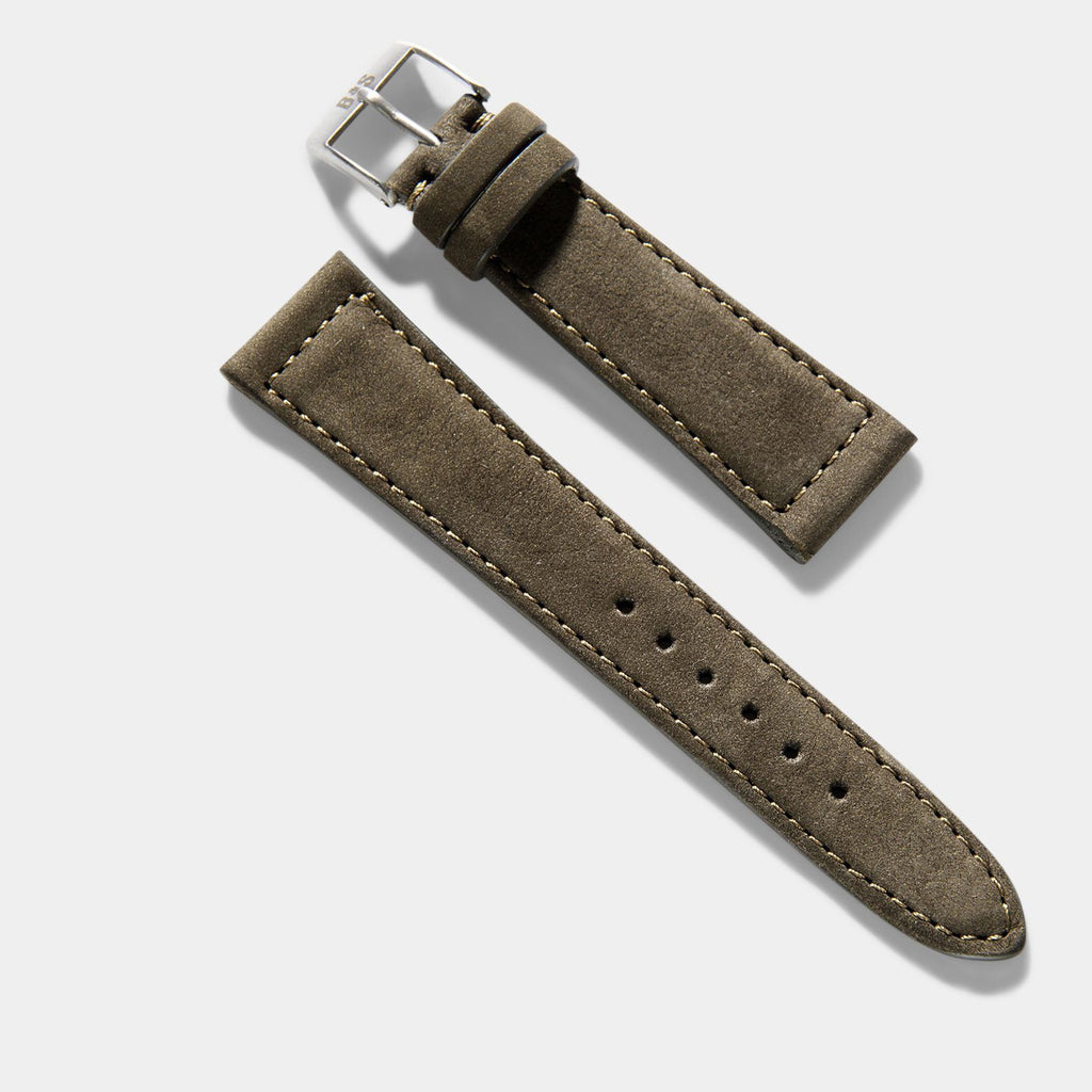 Dark Olive Green Nubuck Leather Watch Strap