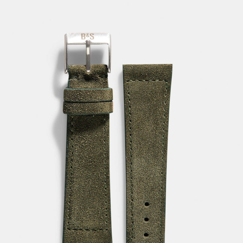 Dark Olive Green Suede Leather Watch Strap