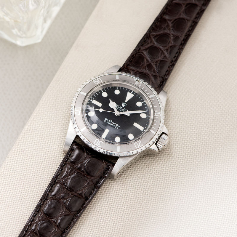 Dark Brown Alligator Leather Watch Strap