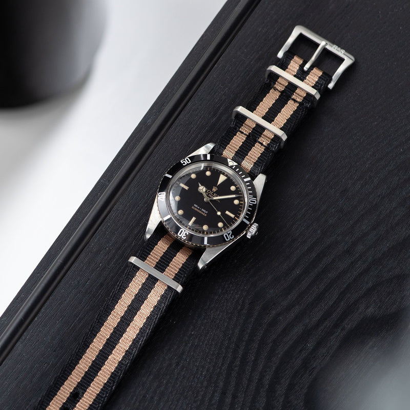 Deluxe Nylon Nato Watch Strap Black Two Stripe Bronze