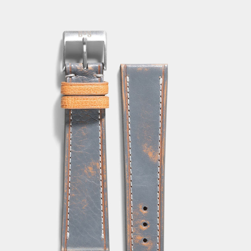 Denim Blue Retro Leather Watch Strap