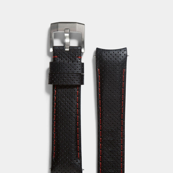 Everest Curved End Black And Red Racing Strap - ONLY For Modern Rolex