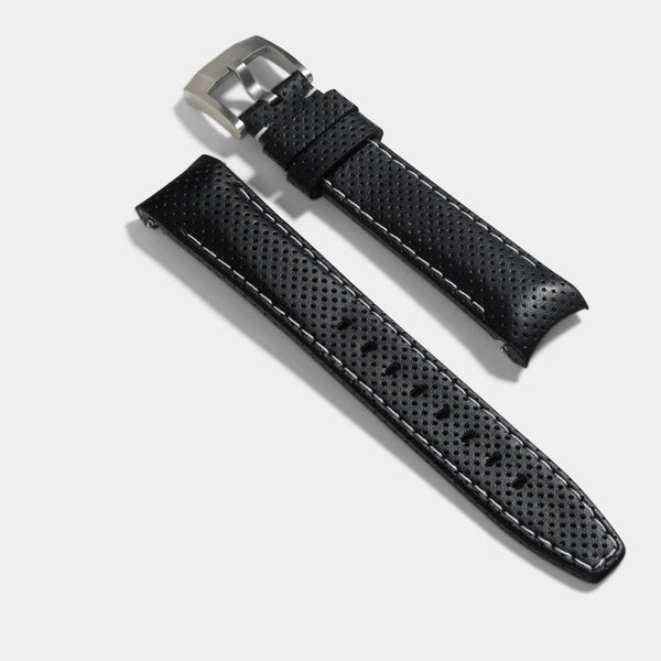Everest Curved End Black And White Racing Strap - ONLY For Modern Rolex