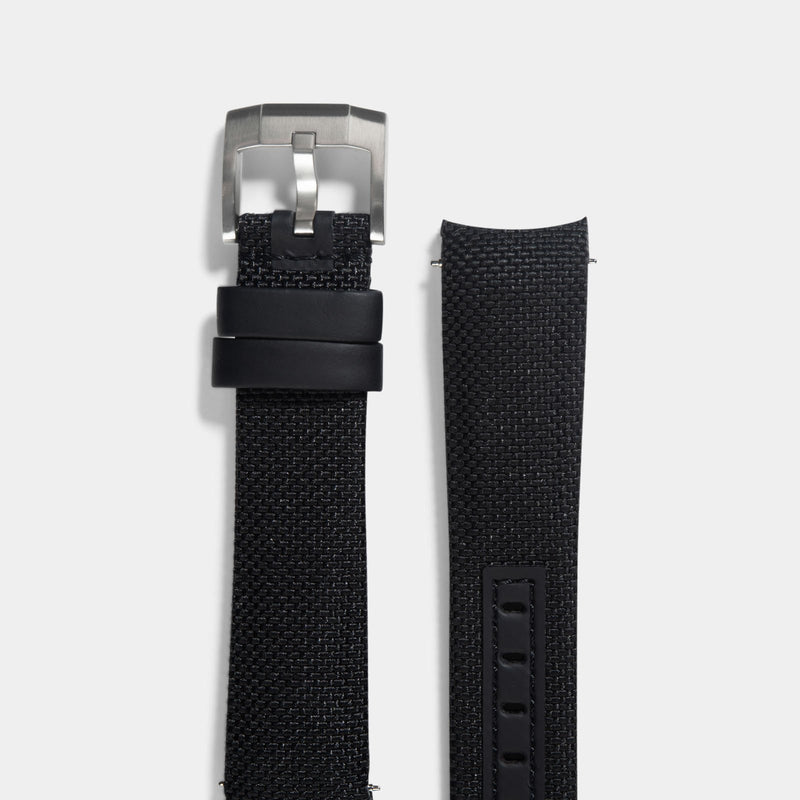 Everest Curved End Black Nylon Strap - ONLY For Modern Rolex