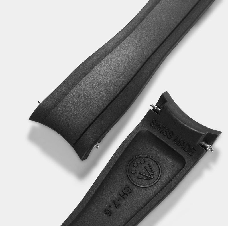 Everest Curved End Black Rubber Strap - ONLY For Modern Rolex With Deployant Clasp