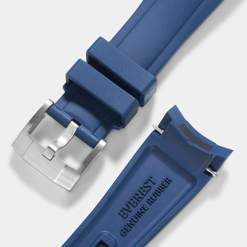 Everest Curved End Blue Rubber Strap With Tang Buckle - ONLY For Modern Tudor