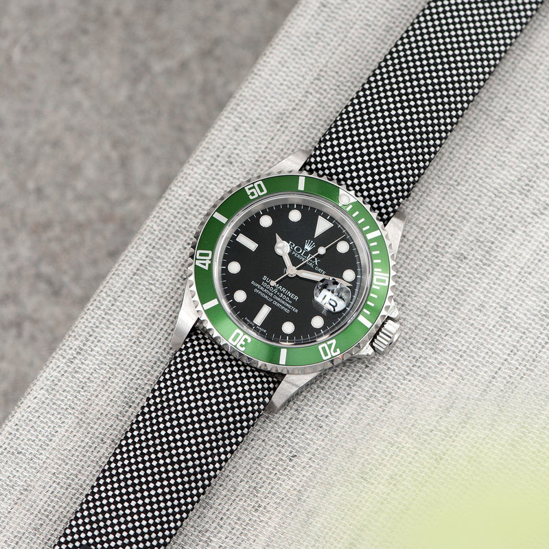 Everest Curved End Black And White Nylon Strap - ONLY For Modern Rolex
