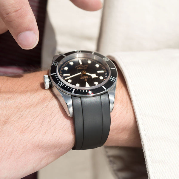 Everest Curved End Black Rubber Strap With Tang Buckle - ONLY For Modern Tudor