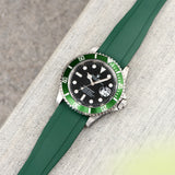 Everest Curved End Green Rubber Strap - ONLY For Modern Rolex With Deployant Clasp