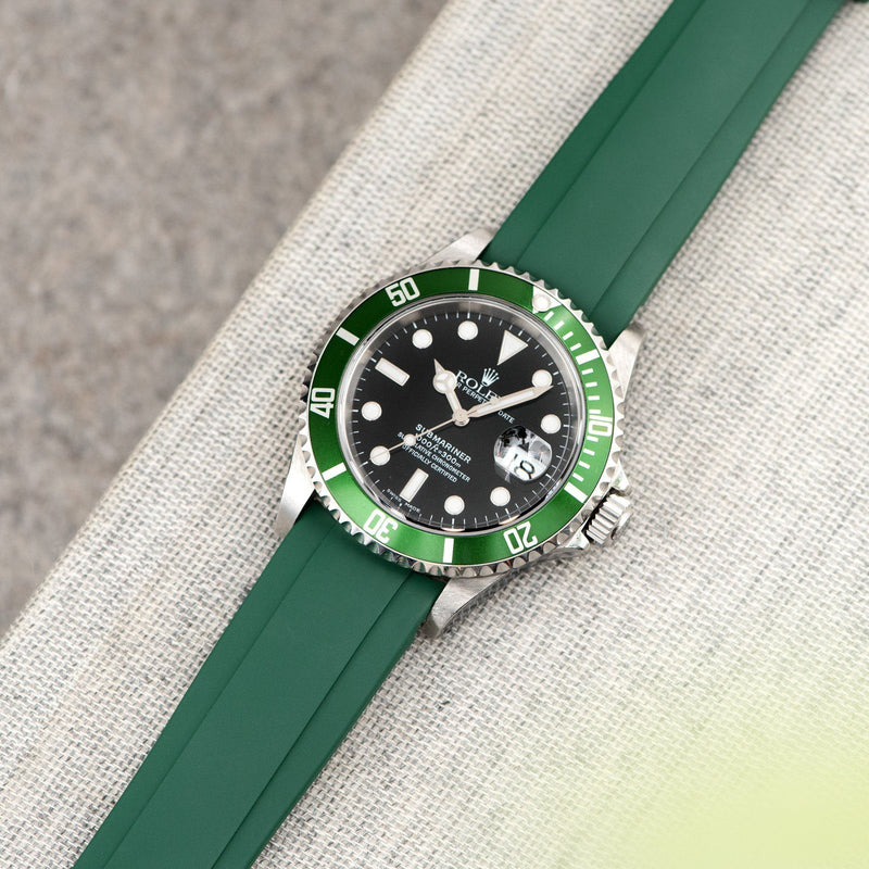 Everest Curved End Green Rubber Strap With Tang Buckle - ONLY For Modern Rolex