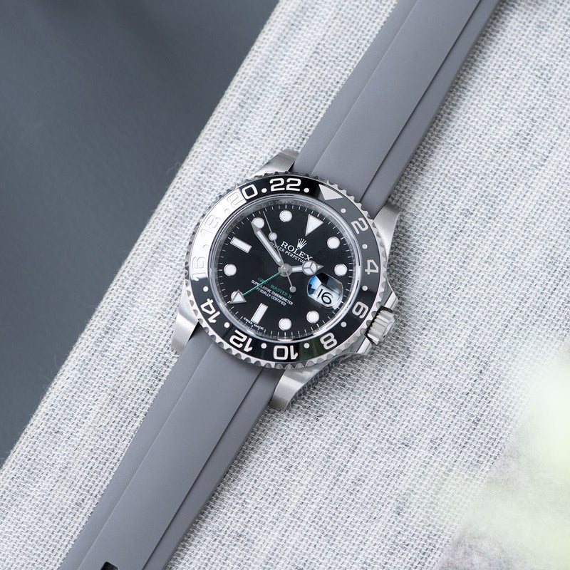 Everest Curved End Grey Rubber Strap With Tang Buckle - ONLY For Modern Rolex