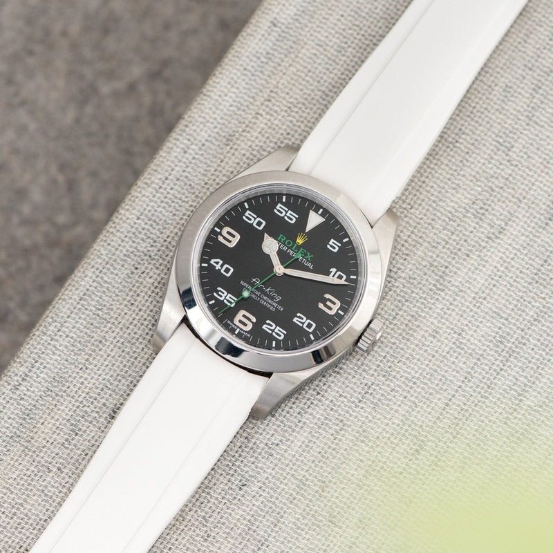 Everest Curved End White Rubber Strap With Tang Buckle - ONLY For Modern Rolex