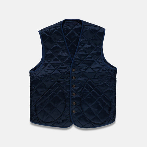 Fortela Vintage Navy Quilted Fabric Vest