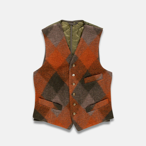 Fortela Vintage Wool Orange Checkered Fabric Vest