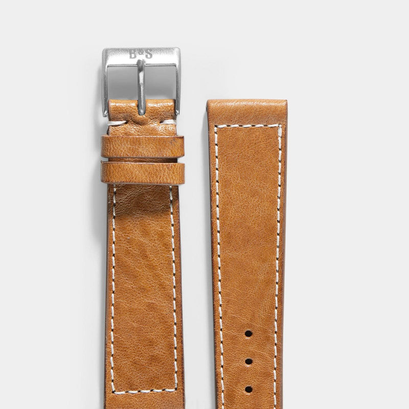 Gilt Brown Leather Watch Strap