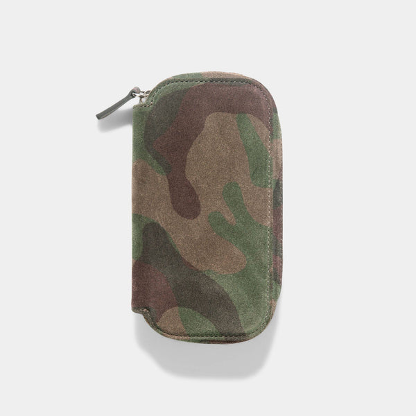 Grey Camo 2 Watch Leather Zip Pouch