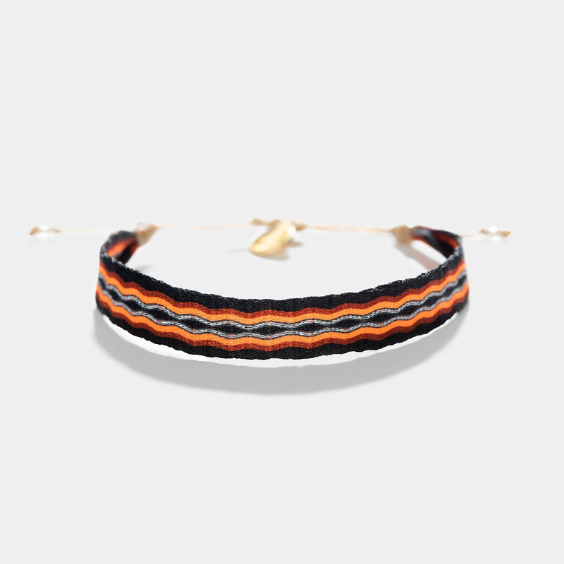 Guanabana Handmade Woven Broad Bracelet Orange And Black