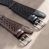 Racing Black Speedy Leather Watch Strap
