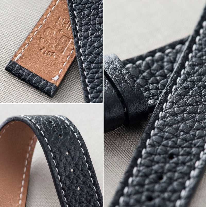 Rich Black Creme Stitch Leather Watch Strap