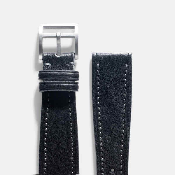 Café Noir Black Leather Watch Strap
