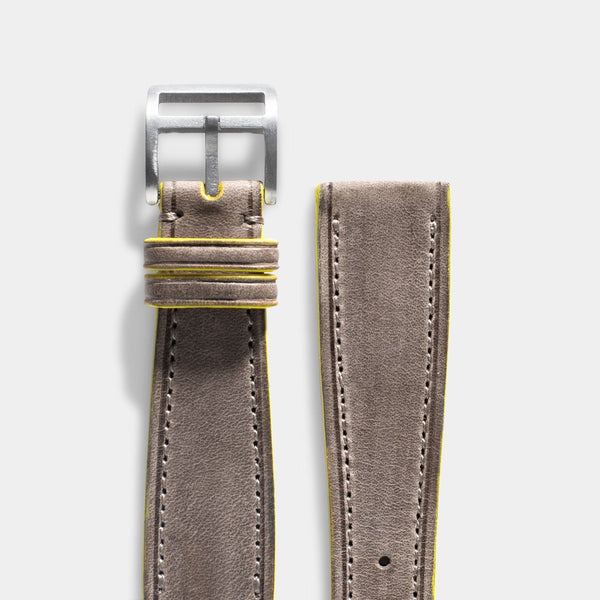 Monte Carlo Grey Leather Watch Strap