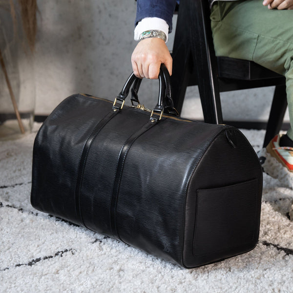 Louis Vuitton BLACK EPI LEATHER KEEPALL 55