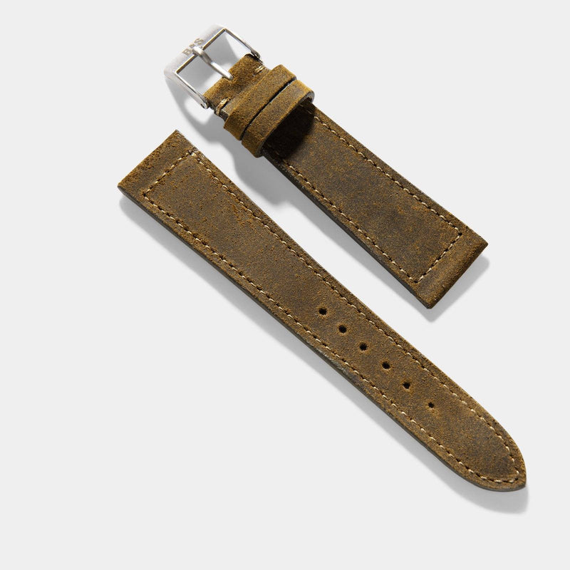 Moss Green Rugged Leather Watch Strap