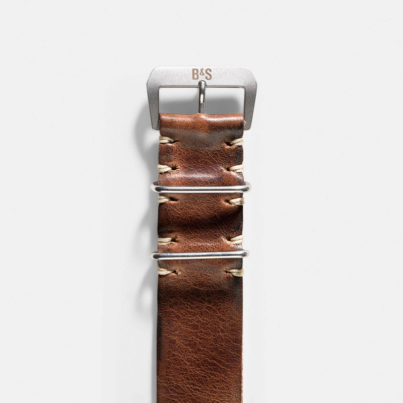 Siena Brown Nato Leather Watch Strap
