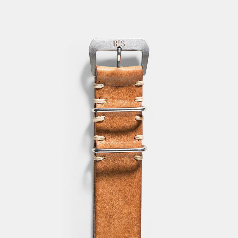 Caramel Brown Nato Leather Watch Strap