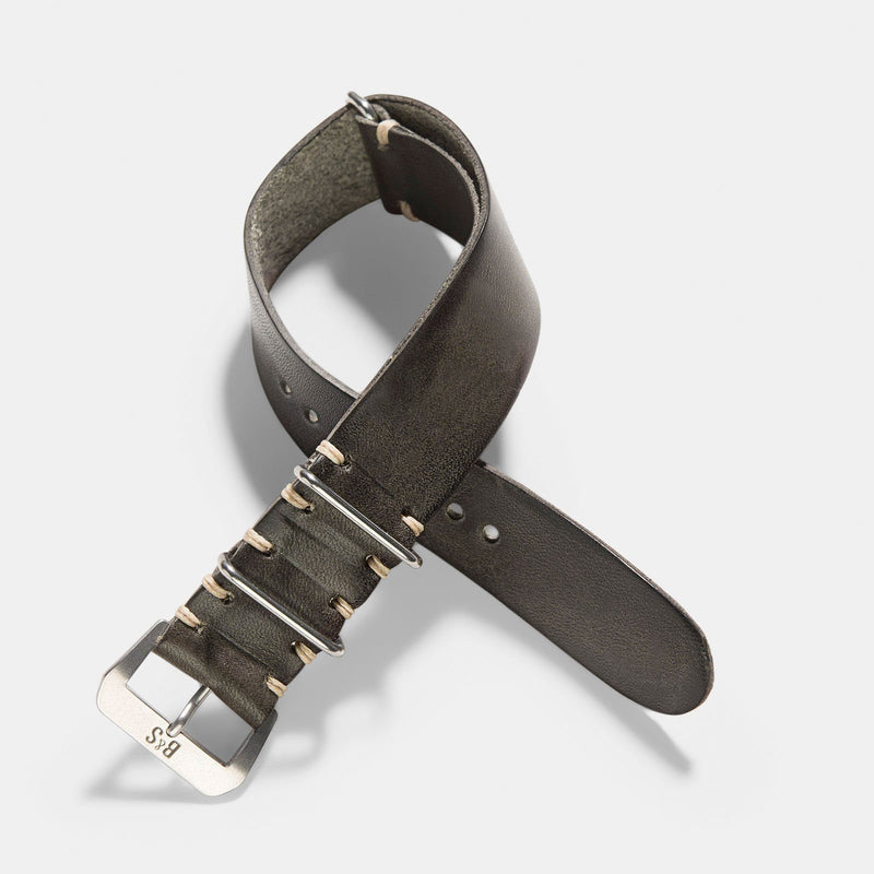 Piombo Grey Nato Leather Watch Strap