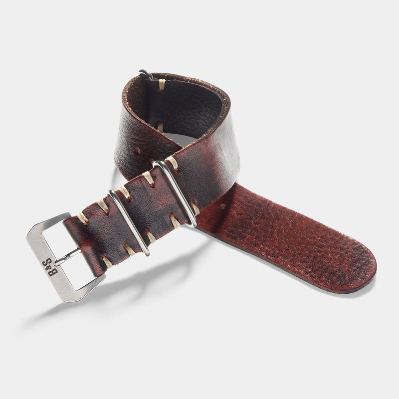 Diablo Black Nato Leather Watch Strap