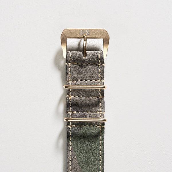 Camo Grey Suede Nato Gold Leather Watch Strap