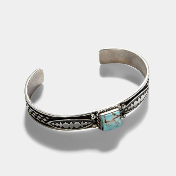 Navajo Dry Creek Turquoise Silver Cuff