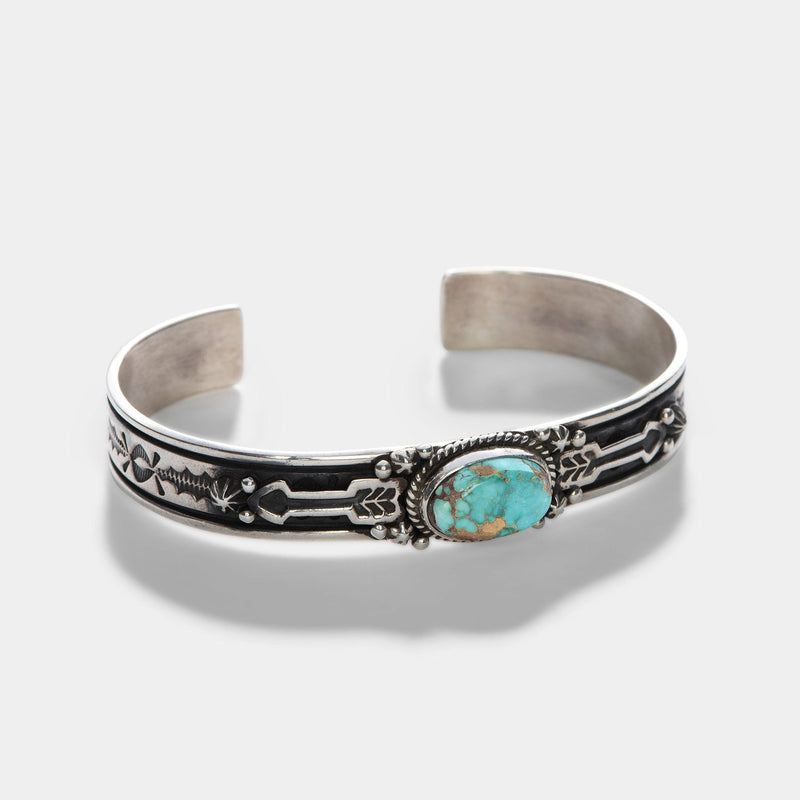 Navajo Kingman Spider Turquoise Silver Cuff
