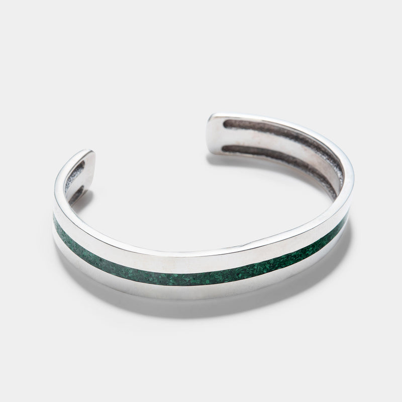 Navajo Malachite Chip Inlay Silver Cuff
