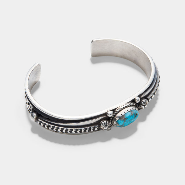 Navajo Number 8 Turquoise Silver Cuff