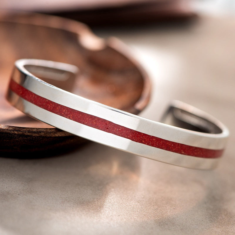 Navajo Red Coral Chip Inlay Silver Cuff